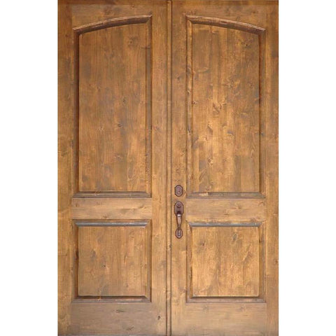 "Krosswood Knotty Alder 1-3/4"" 2 Panel Common Arch Interior Double Doors 
