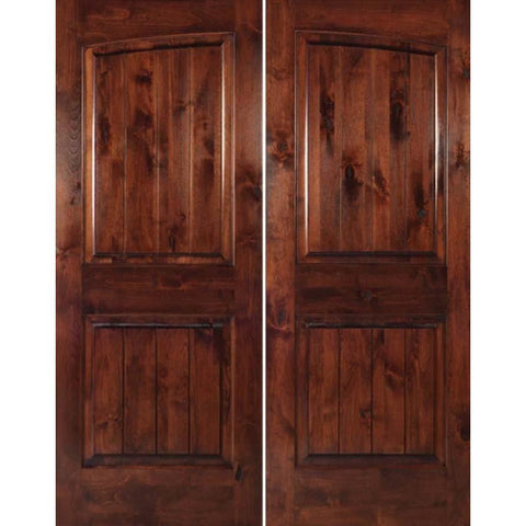 "Krosswood Knotty Alder 1-3/4"" 2 Panel Common Arch with V-Grooves Interior Double Doors 