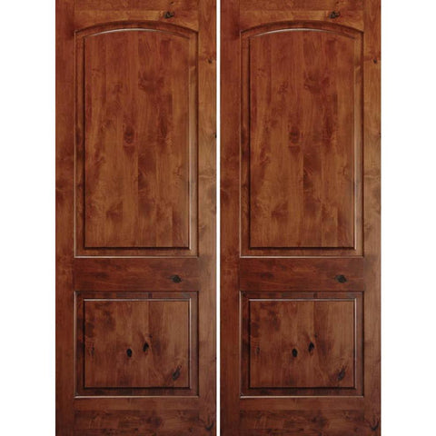"Krosswood Knotty Alder 1-3/4"" 2 Panel Top Rail Arch Double Doors 