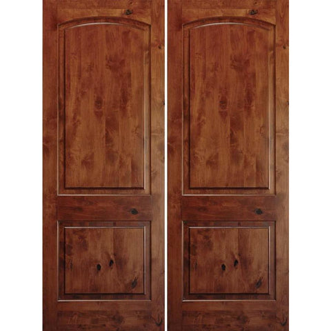 "Krosswood Knotty Alder 1-3/8"" 2 Panel Top Rail Arch Double Doors 
