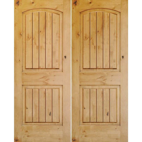 "Krosswood Knotty Alder 1-3/8"" 2 Panel Top Rail Arch with V-Grooves Double Doors 