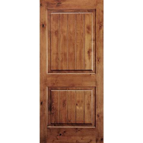 Krosswood Knotty Alder 2 Panel Square Top with V-Groove | UberDoors