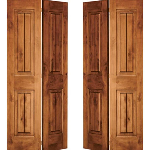 Krosswood Knotty Alder 2 Panel Square Top with V-Grooves Bi-Fold Double Doors | UberDoors