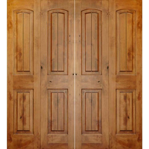 Krosswood Knotty Alder 2 Panel Top Rail Arch with V-Grooves Bi-Fold Double Doors | UberDoors