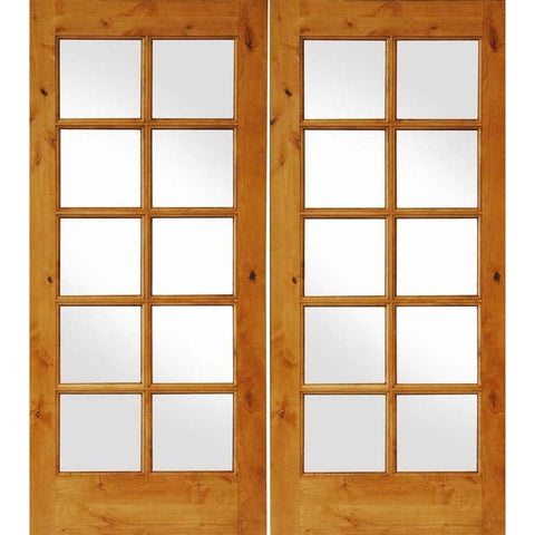 Krosswood Knotty Alder Interior 10 Lite French Doors | UberDoors