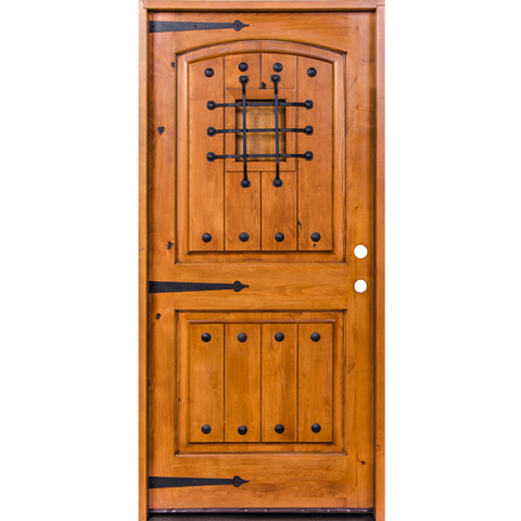 Krosswood Knotty Alder 2 Panel Top Rail Arch with V-Grooves Door w/Speakeasy Kit, Clavos and Strap Hinges | UberDoors