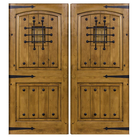 Krosswood Knotty Alder 2 Panel Top Rail Arch with V-Grooves Double Doors + Speakeasy Kit, Clavos and Strap Hinges | UberDoors