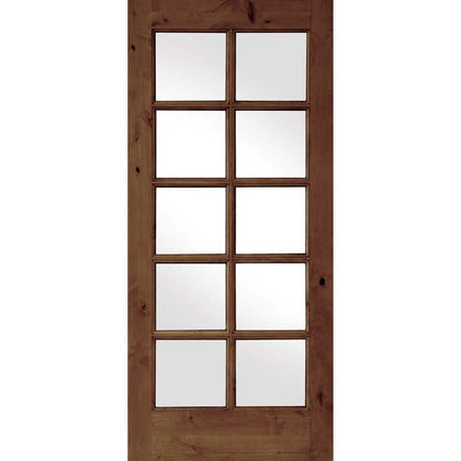 Krosswood Knotty Alder Int 10 Lite With Tempered Glass | UberDoors