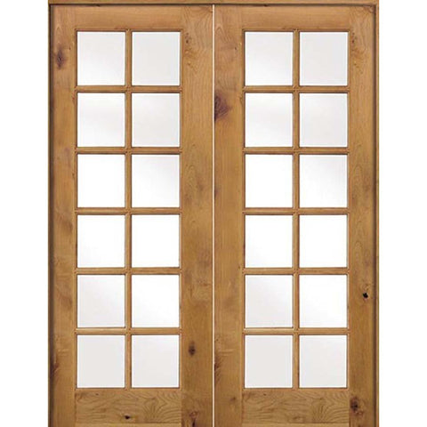 Krosswood Knotty Alder Int 12 Lite With Tempered Glass French Doors | UberDoors