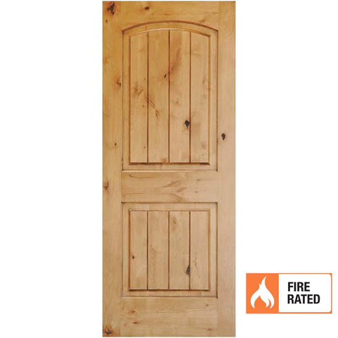 Krosswood Knotty Alder 2 Panel Top Rail Arch w/V-Grooves 20 Minute Fire Door | UberDoors
