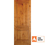 Krosswood Knotty Alder 2 Panel Square Top 20 Minute Fire Door | UberDoors