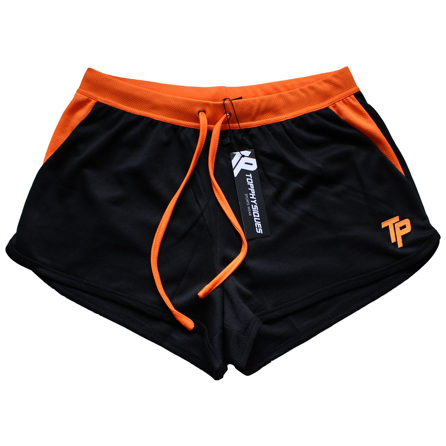 TP BodyBuilding Shorts - Black & Fluor Orange