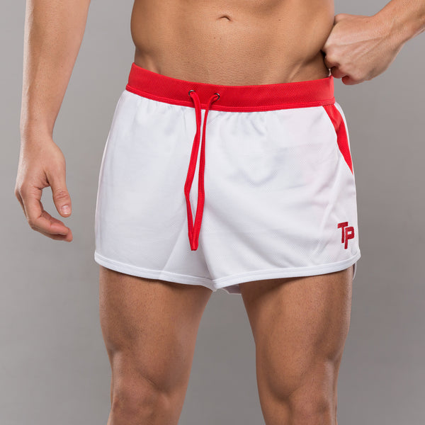 TP BodyBuilding Shorts - White & Red