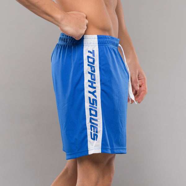 Stripe Performance Shorts - Blue & White