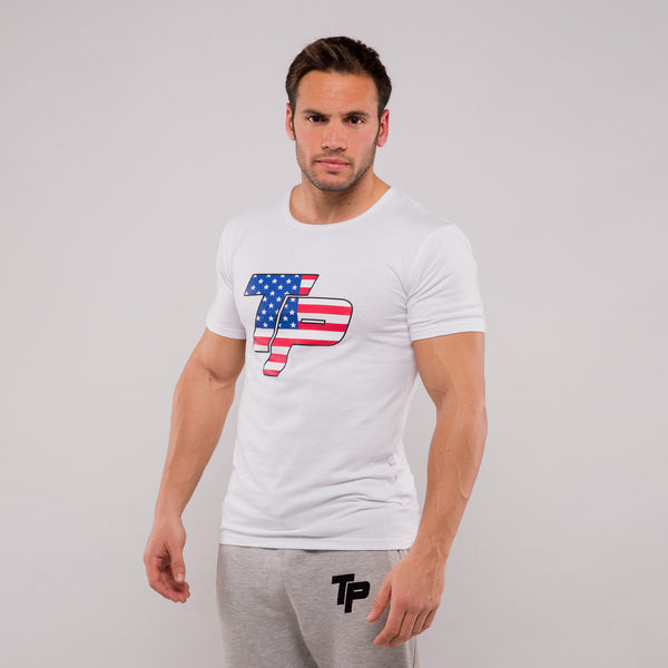 TP T-Shirt - White & USA print
