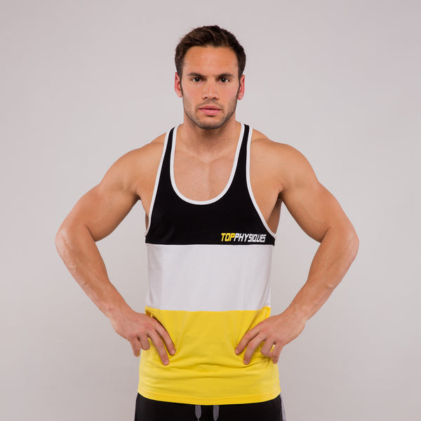 Topphysiques 3-Panel Stringer Vest - Black,White,Yellow