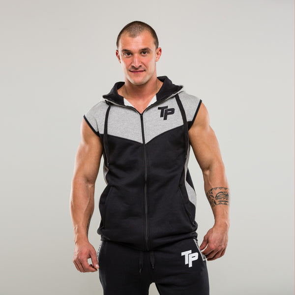 Black & Grey TP Sleeveless Hoodie