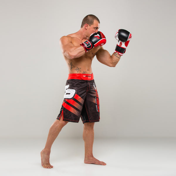 Black & Red TP MMA Shorts