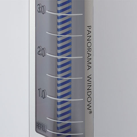 Easy-to-read Panorama Window® water level gauge