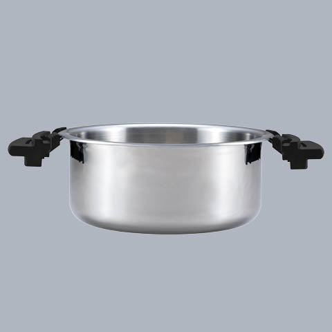 Tri-ply stainless steel cooking pot with convenient resin handles