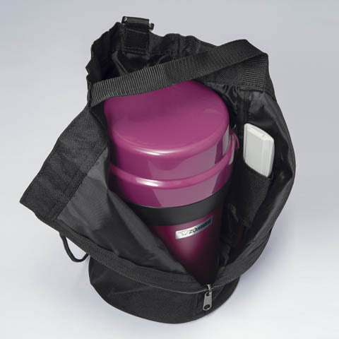 Easy-to-carry bag holds jar and forked spoon