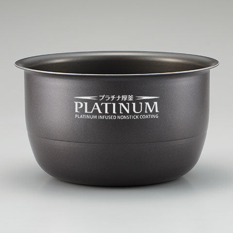 Platinum infused nonstick inner cooking pan changes water quality for sweeter tasting rice