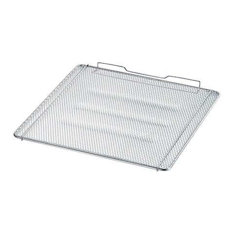 Mesh rack reduces grill marks on foods for even toasting while minimizing falls between grills