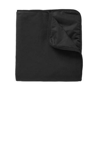 SF Port Authority® Fleece & Poly Travel Blanket - Black - Top String Lacrosse