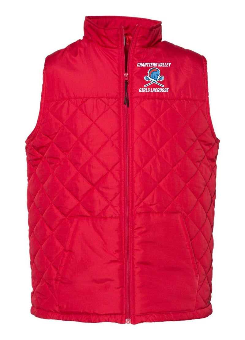 Chartiers Valley Girls Badger - Quilted Vest - Red - Top String Lacrosse