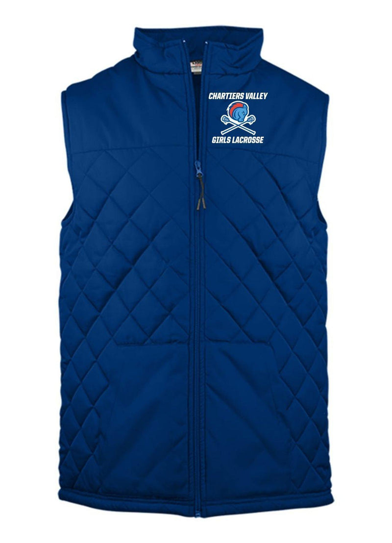 Chartiers Valley Girls Badger - Quilted Vest - Royal - Top String Lacrosse