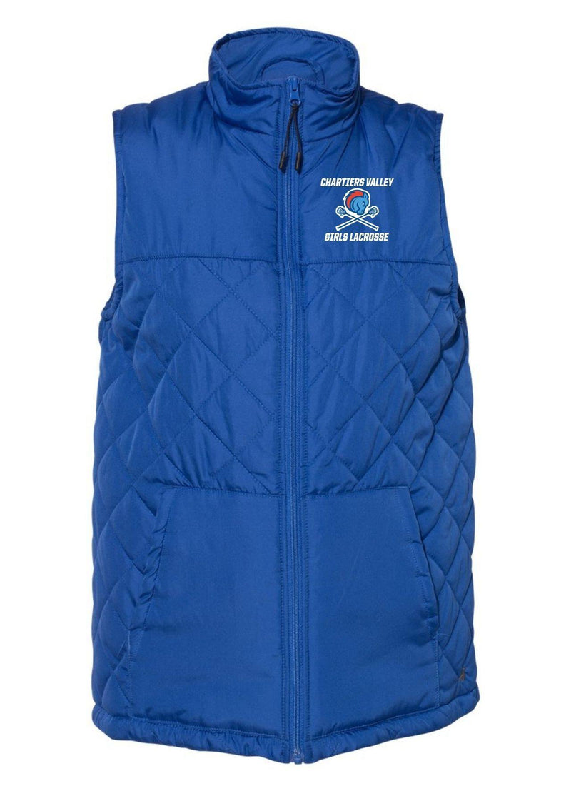 Chartiers Valley Girls Badger - Women's Quilted Vest - Royal - Top String Lacrosse