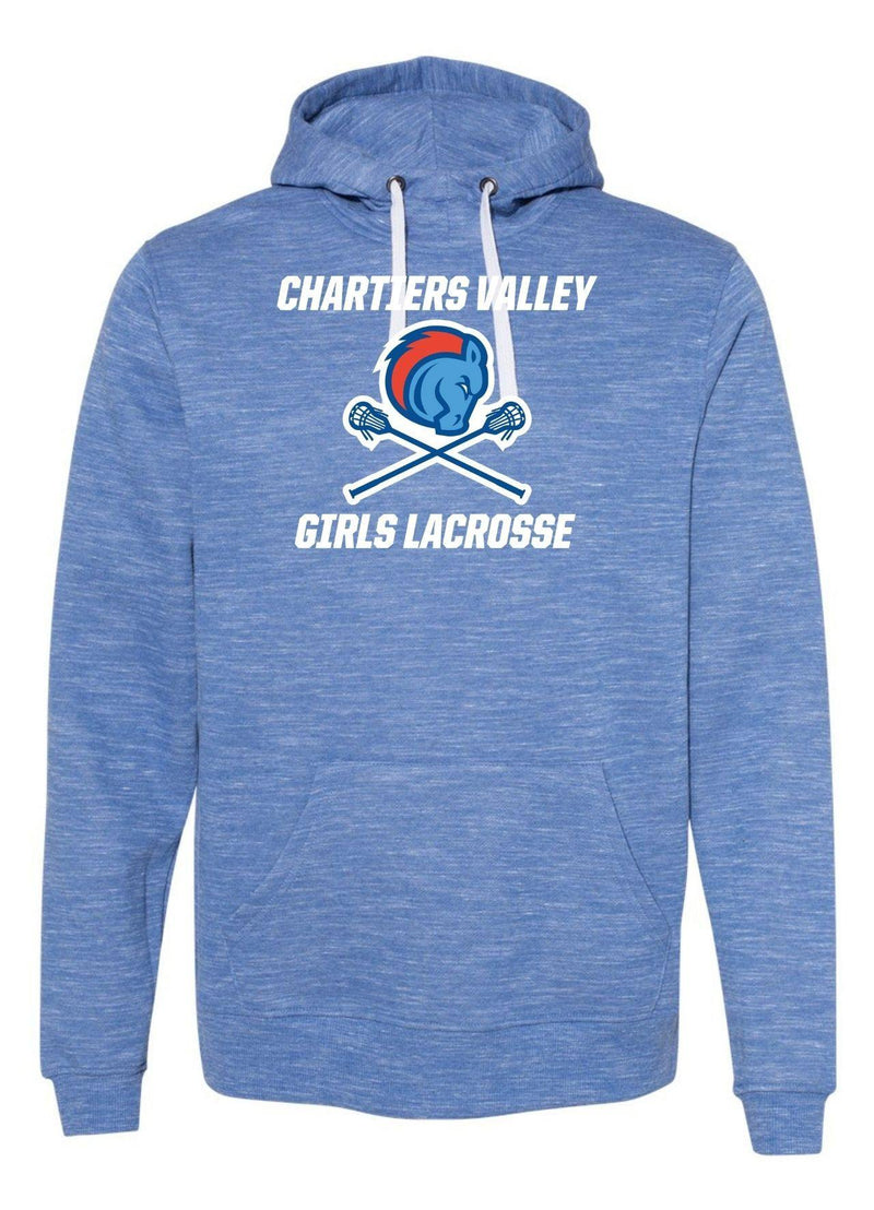 Chartiers Valley Girls J. America - Mélange Fleece Hooded Sweatshirt - Royal - Top String Lacrosse