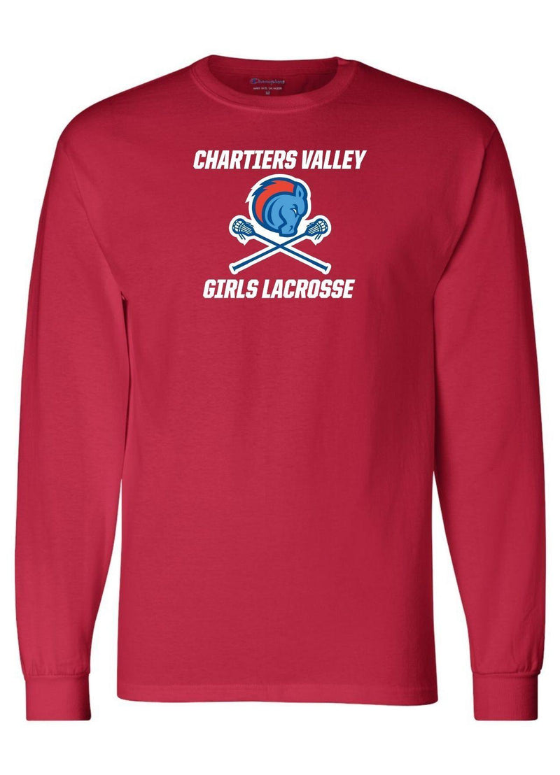 Chartiers Valley Girls Champion - Long Sleeve T-Shirt - Red - Top String Lacrosse