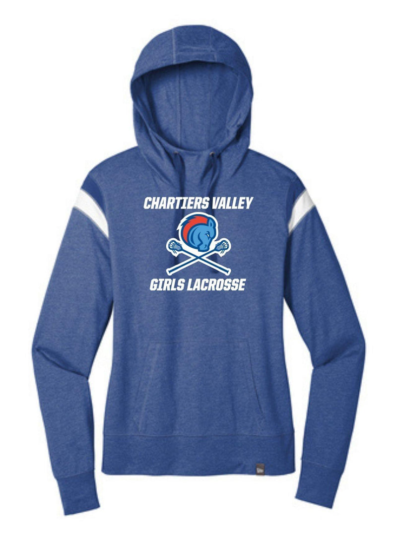 Chartiers Valley Girls New Era ® Ladies Heritage Blend Varsity Hoodie - Royal - Top String Lacrosse