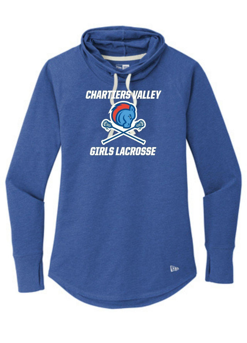 Chartiers Valley Girls New Era ® Ladies Sueded Cotton Blend Cowl Tee - Royal - Top String Lacrosse