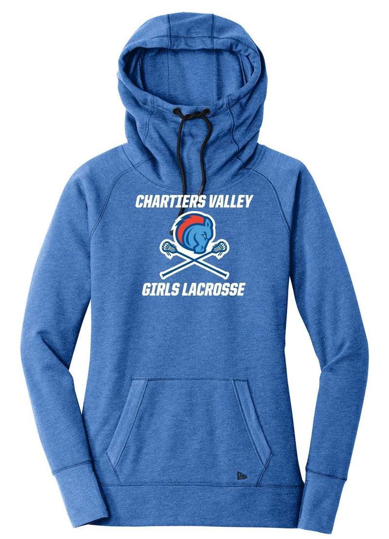 Chartiers Valley Girls New Era® Ladies Tri-Blend Fleece Pullover Hoodie - Royal - Top String Lacrosse