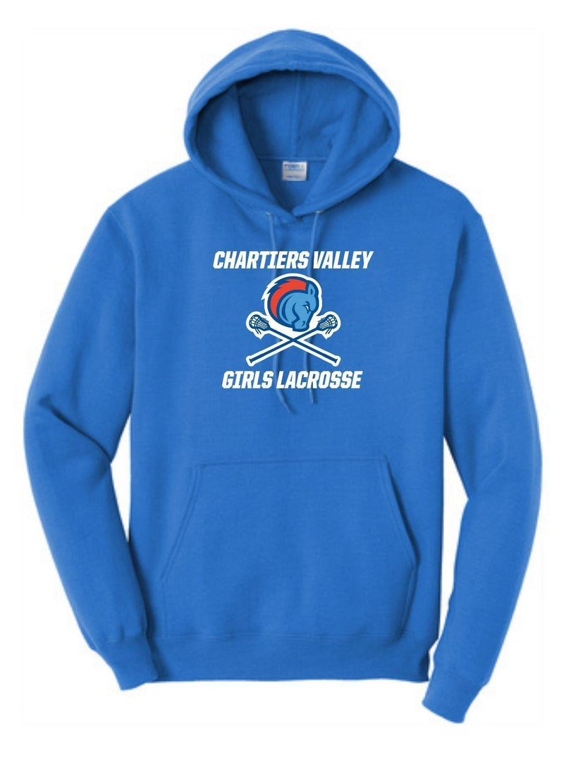 Chartiers Valley Girls Port & Company ® Ladies Core Fleece Pullover Hooded Sweatshirt - Royal - Top String Lacrosse