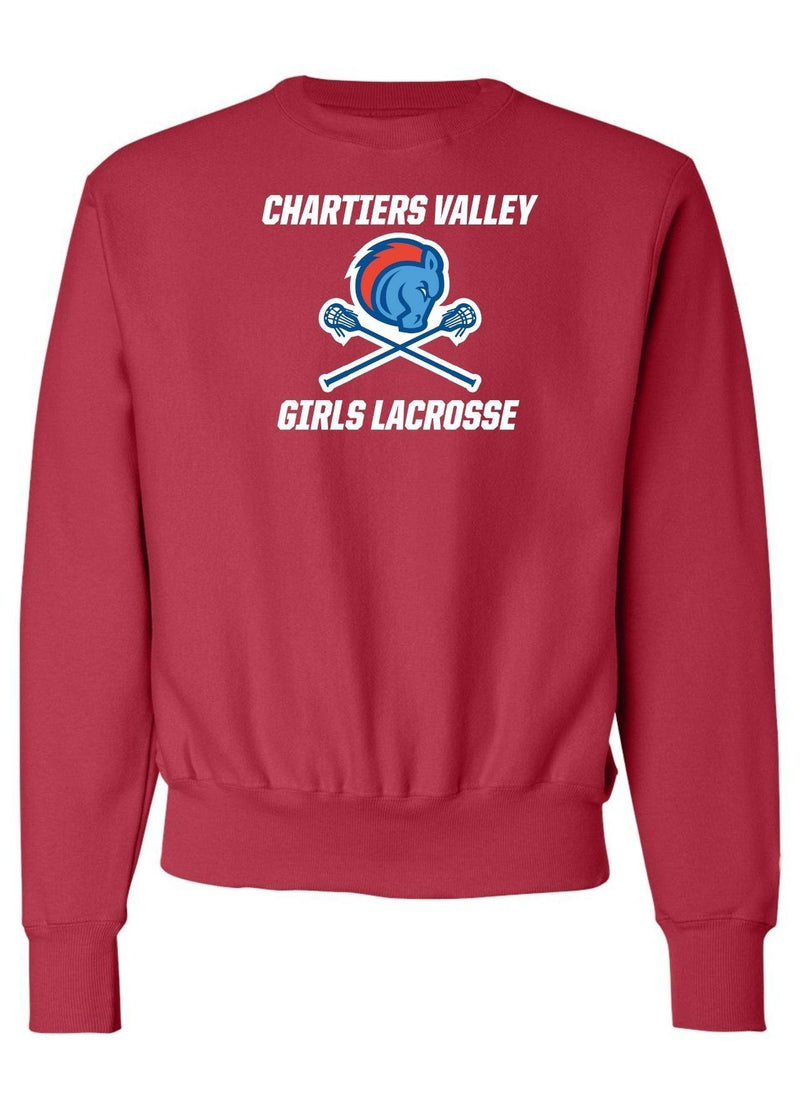Chartiers Valley Girls Champion - Reverse Weave® Crewneck Sweatshirt - Red - Top String Lacrosse