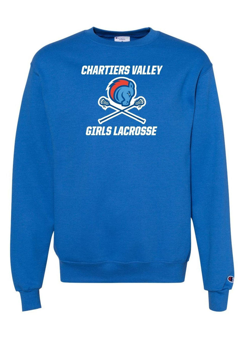 Chartiers Valley Girls Champion - Double Dry Eco® Crewneck Sweatshirt - Royal - Top String Lacrosse