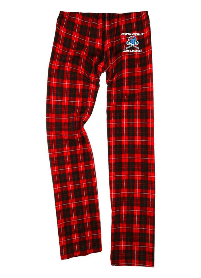 Chartiers Valley Girls Boxercraft - Youth Flannel Pants with Pockets - Red/Black - Top String Lacrosse