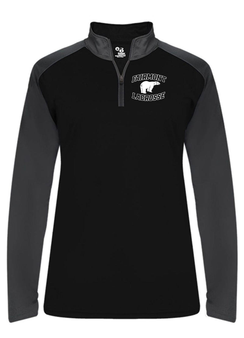 Fairmont Badger - Ultimate SoftLock™ Women's Sport Quarter-Zip Pullover - Black - Top String Lacrosse