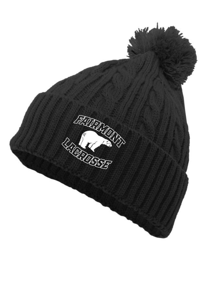 Fairmont PACIFIC HEADWEAR CABLE KNIT POM-POM BEANIE - Black - Top String Lacrosse