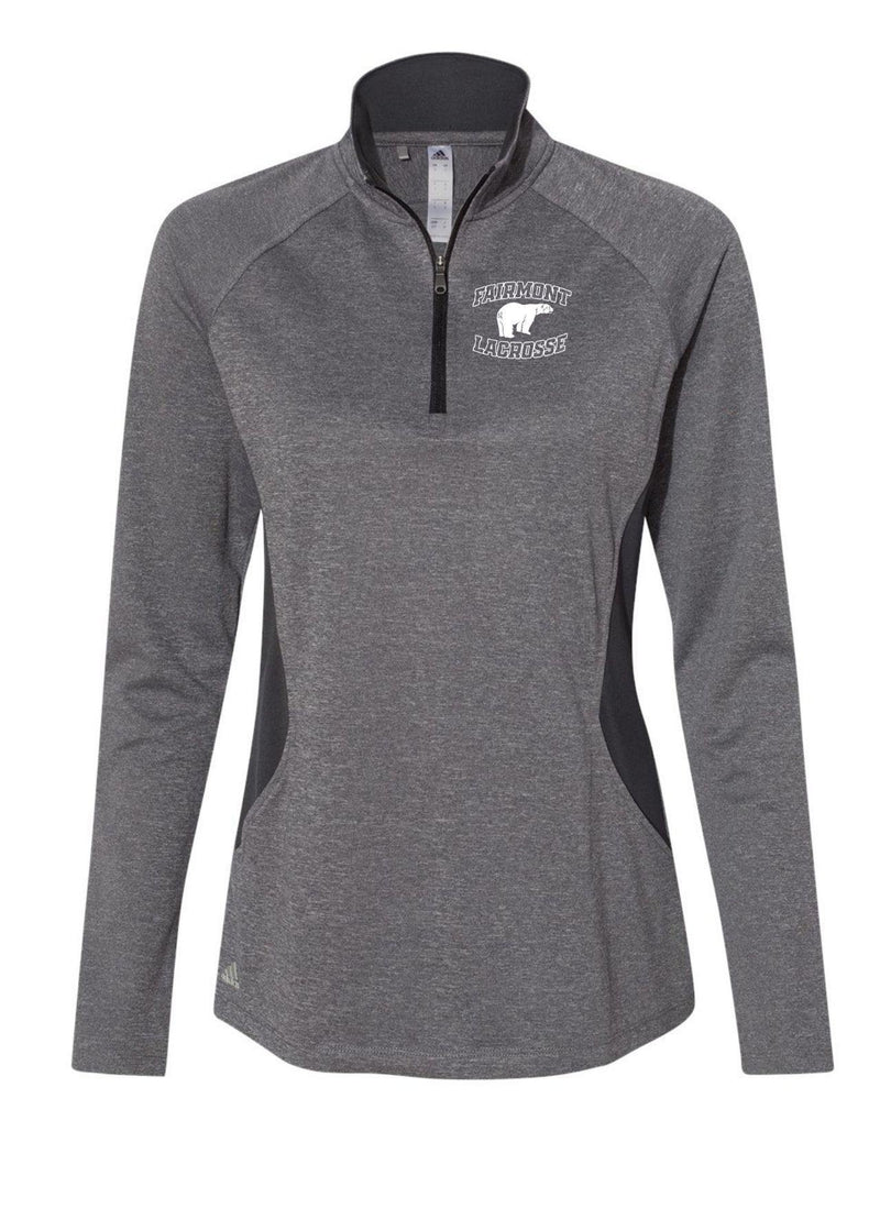 Fairmont Adidas - Women's Heathered Quarter Zip Pullover With Colorblocked Shoulders - Black - Top String Lacrosse
