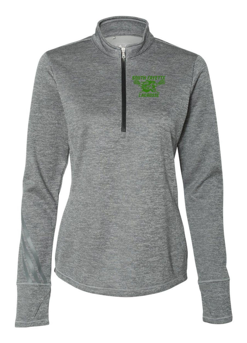 SF Adidas - Women's Brushed Terry Heathered Quarter-Zip Pullover - Grey - Top String Lacrosse