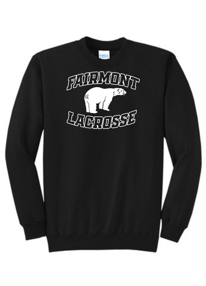 Fairmont Port & Company® Core Fleece Crewneck Sweatshirt - Black - Top String Lacrosse