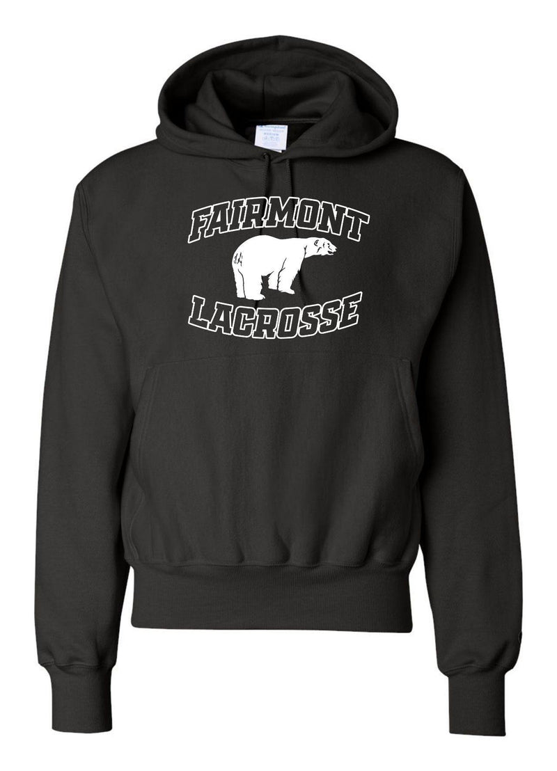 Fairmont Champion - Reverse Weave® Hooded Pullover Sweatshirt - Black - Top String Lacrosse
