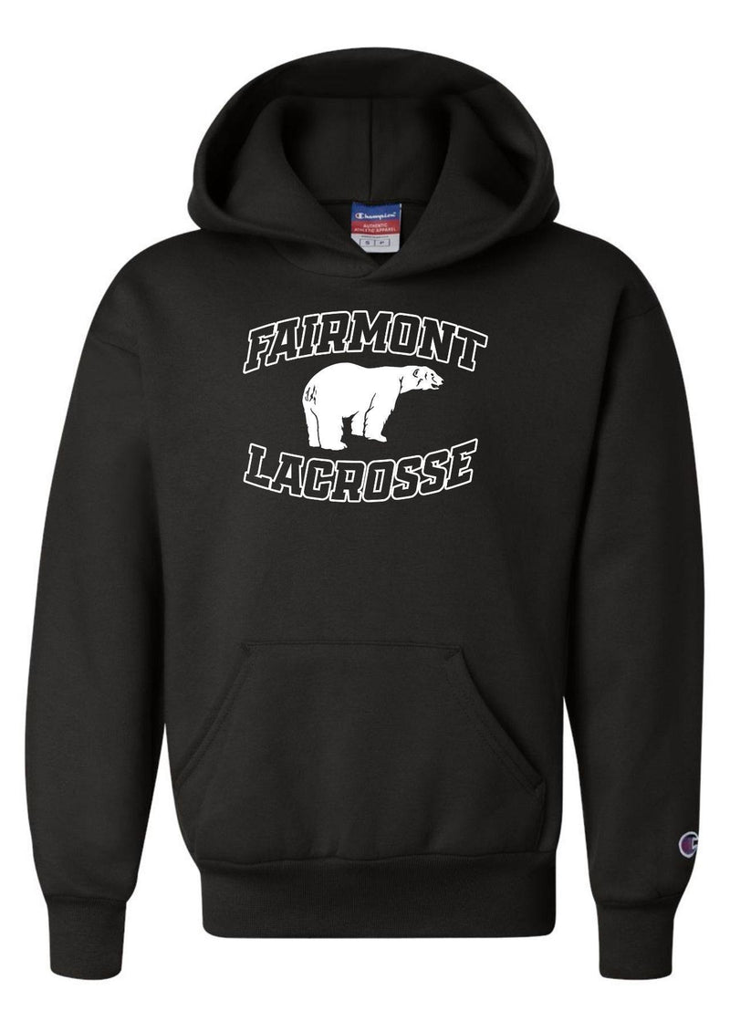 Fairmont Champion - Double Dry Eco® Youth Hooded Sweatshirt - Black - Top String Lacrosse