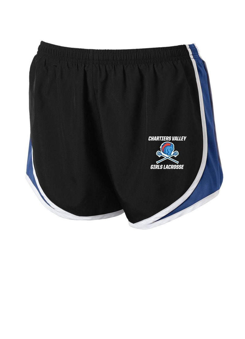 Chartiers Valley Ladies Cadence Short - Black/Royal - Top String Lacrosse