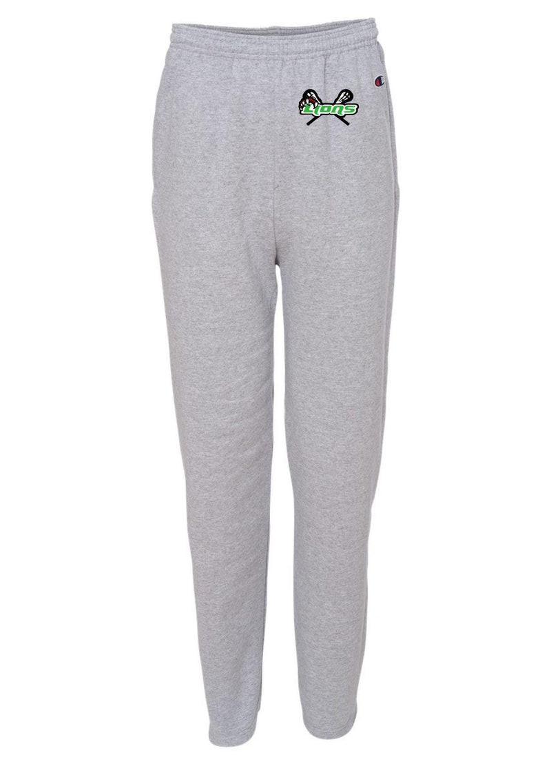 SFYTH Champion - Double Dry Eco® Open Bottom Sweatpants with Pockets - Grey - Top String Lacrosse