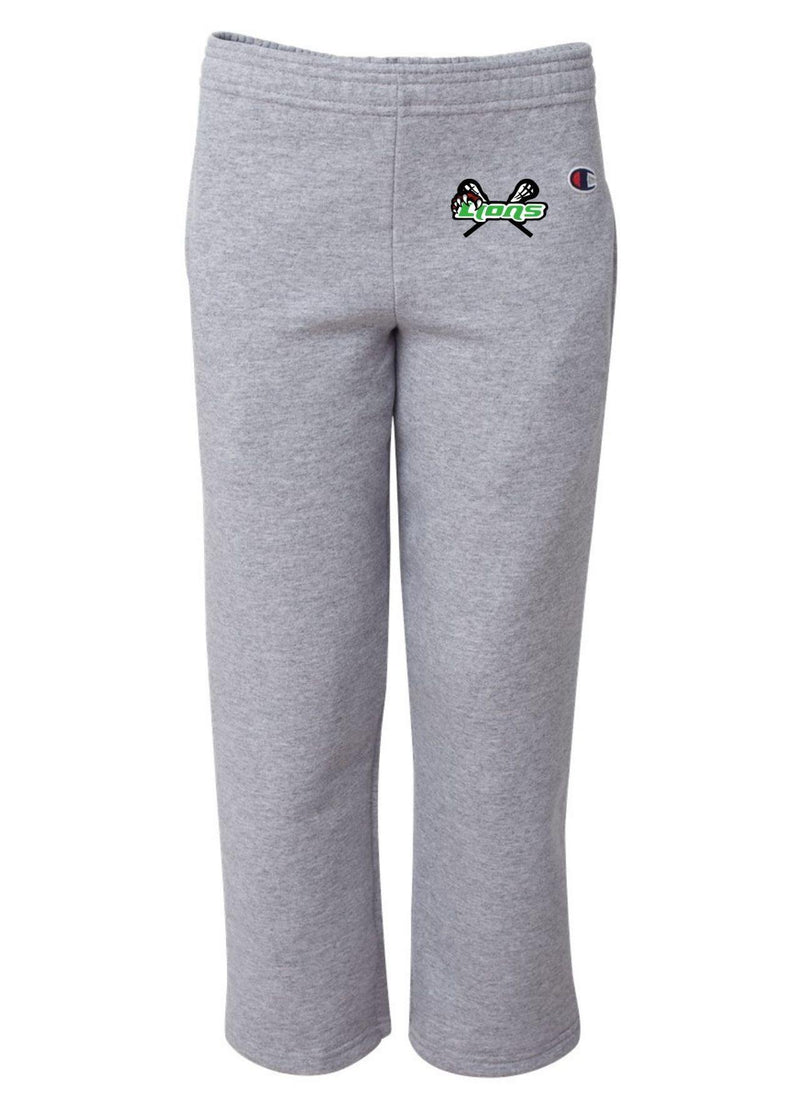 SFYTH Champion - Double Dry Eco® Youth Open Bottom Sweatpants with Pockets - Grey - Top String Lacrosse